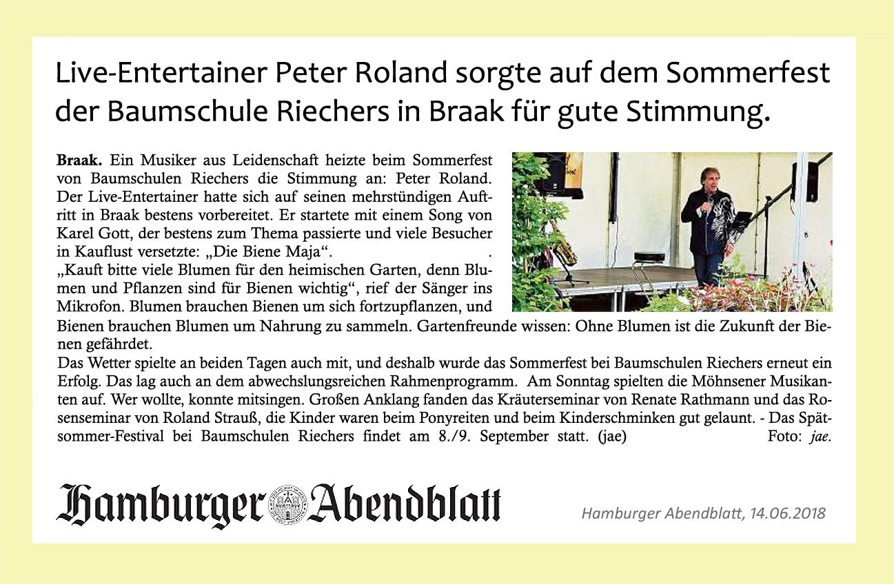 Peter Roland im Hamburger Abendblatt