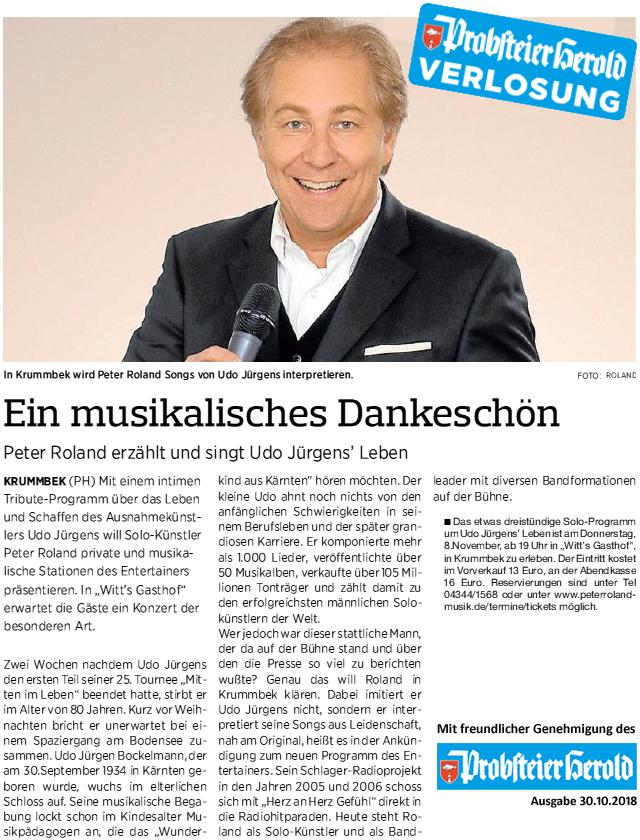 Probsteier Herold 2018-10-30 Peter Roland singt Udo Jürgens