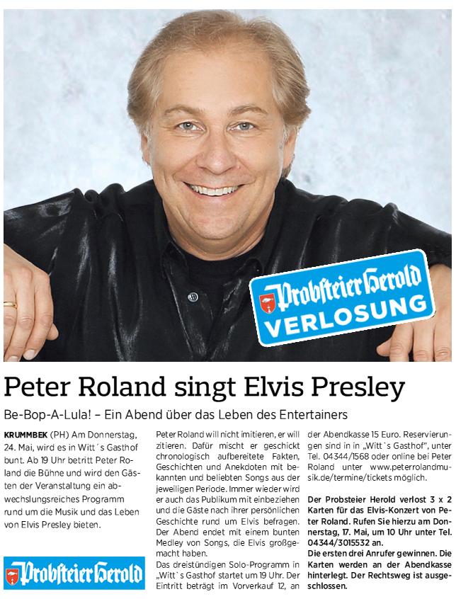 Verlosung Probsteier Herold Peter singt in Krummbek bei Schönberg in Witt`s Gasthof