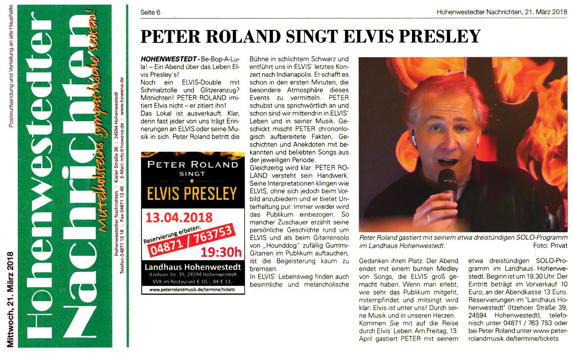 Hohenwesdtedter Nachrichten Peter Roland singt Elvis Presley im Landhaus Hohenwestedt