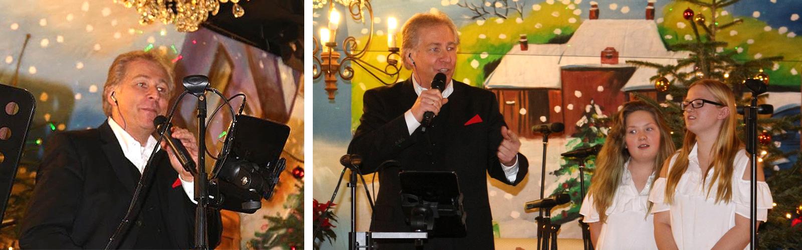 Peter Roland und zwei Sängerinnen des Chors Sweet Voices