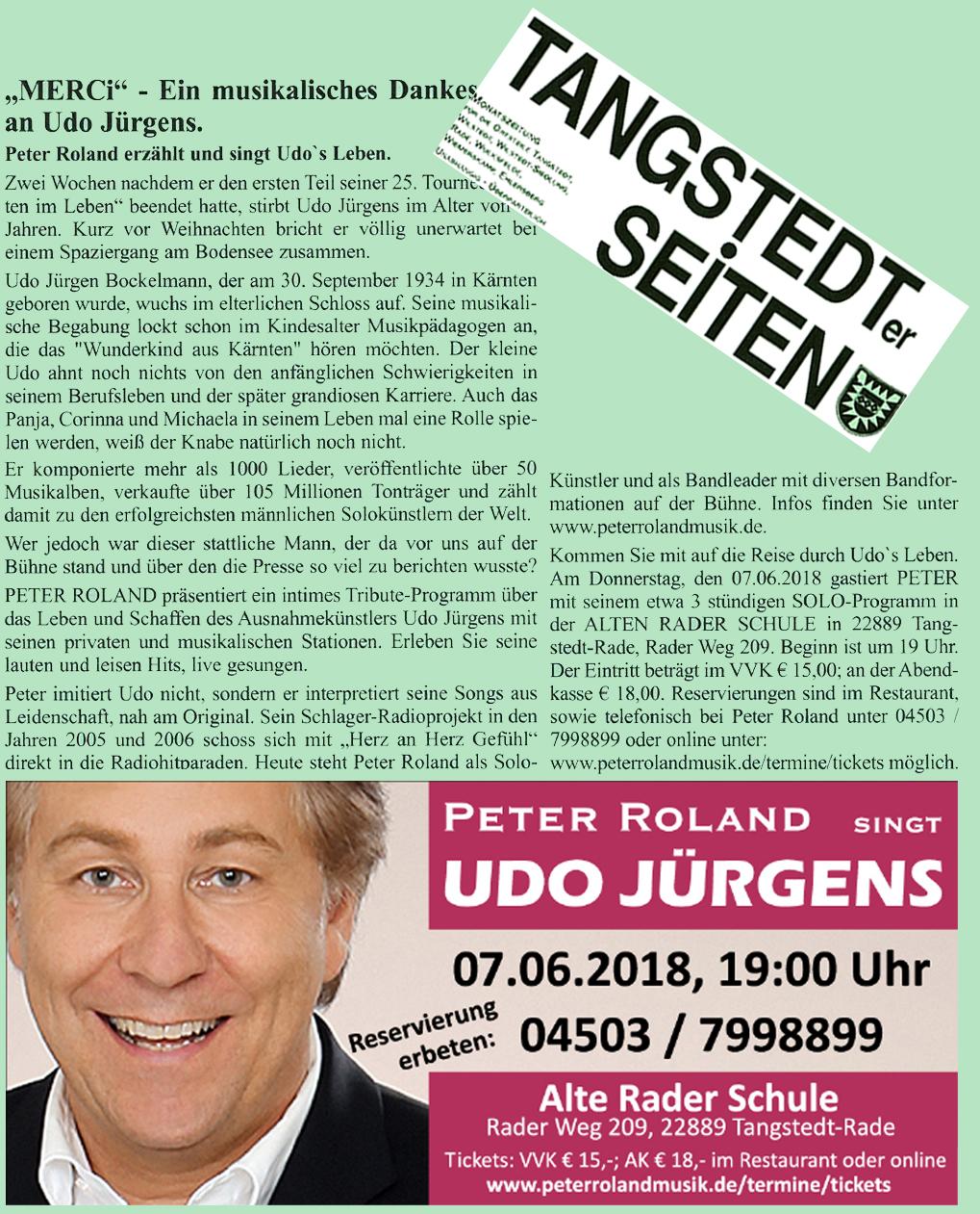 Peter Roland singt Udo Jürgens, Tangstedter Seiten