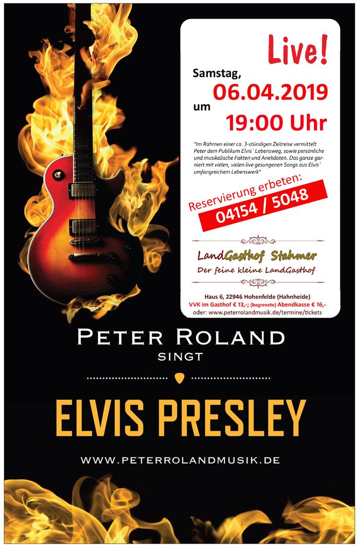 Plakat Elvis Programm Gasthof Stahmer April 2019