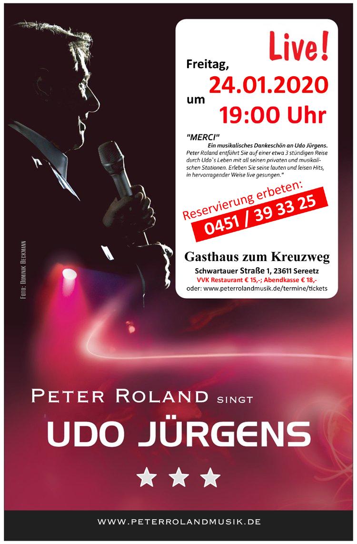 Peter Roland singt Udo Jürgens live im Restaurant Zum Kreuzweg, Sereetz
