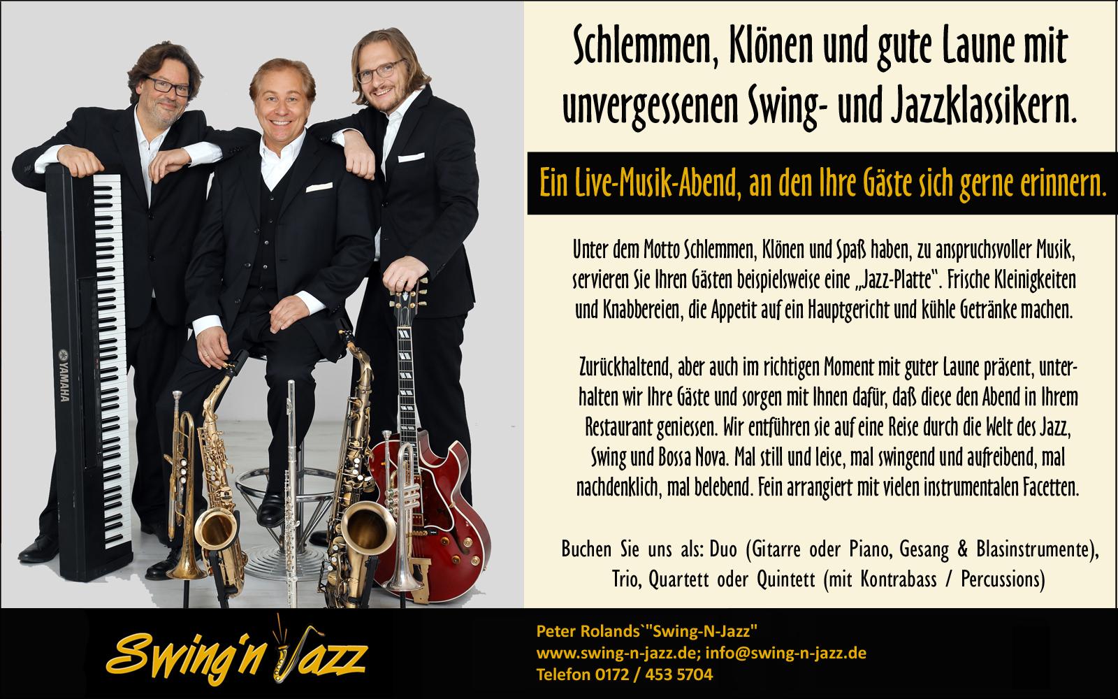 Jazzabend Restaurant. Trio Peter Roland`s Swing-N-Jazz.