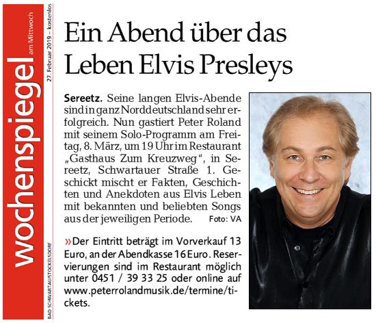 Peter Roland im Wochenspiegel